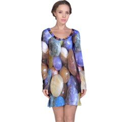 Rock Tumbler Used To Polish A Collection Of Small Colorful Pebbles Long Sleeve Nightdress