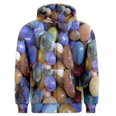 Rock Tumbler Used To Polish A Collection Of Small Colorful Pebbles Men s Zipper Hoodie