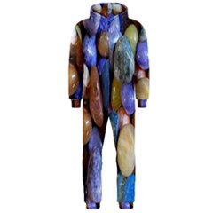 Rock Tumbler Used To Polish A Collection Of Small Colorful Pebbles Hooded Jumpsuit (men)