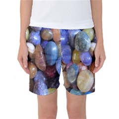 Rock Tumbler Used To Polish A Collection Of Small Colorful Pebbles Women s Basketball Shorts
