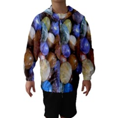 Rock Tumbler Used To Polish A Collection Of Small Colorful Pebbles Hooded Wind Breaker (Kids)