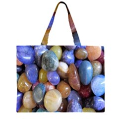 Rock Tumbler Used To Polish A Collection Of Small Colorful Pebbles Zipper Large Tote Bag