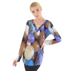 Rock Tumbler Used To Polish A Collection Of Small Colorful Pebbles Women s Tie Up Tee