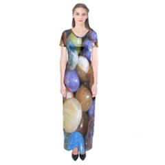 Rock Tumbler Used To Polish A Collection Of Small Colorful Pebbles Short Sleeve Maxi Dress