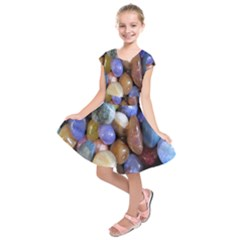 Rock Tumbler Used To Polish A Collection Of Small Colorful Pebbles Kids  Short Sleeve Dress