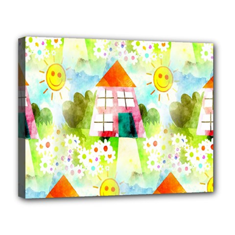 Summer House And Garden A Completely Seamless Tile Able Background Canvas 14  X 11