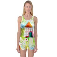 Summer House And Garden A Completely Seamless Tile Able Background One Piece Boyleg Swimsuit