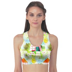 Summer House And Garden A Completely Seamless Tile Able Background Sports Bra
