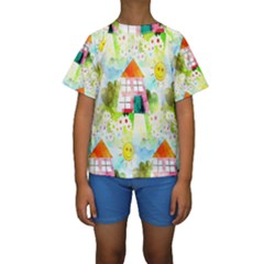 Summer House And Garden A Completely Seamless Tile Able Background Kids  Short Sleeve Swimwear
