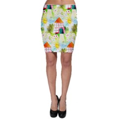 Summer House And Garden A Completely Seamless Tile Able Background Bodycon Skirt