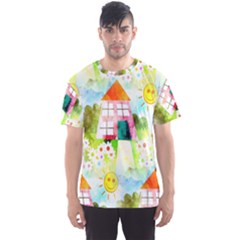 Summer House And Garden A Completely Seamless Tile Able Background Men s Sport Mesh Tee