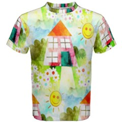 Summer House And Garden A Completely Seamless Tile Able Background Men s Cotton Tee