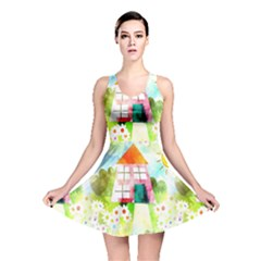 Summer House And Garden A Completely Seamless Tile Able Background Reversible Skater Dress