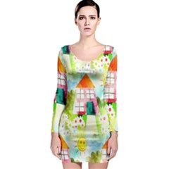 Summer House And Garden A Completely Seamless Tile Able Background Long Sleeve Bodycon Dress