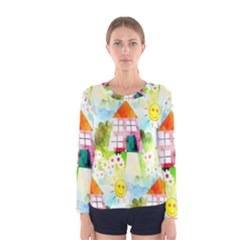 Summer House And Garden A Completely Seamless Tile Able Background Women s Long Sleeve Tee