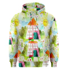 Summer House And Garden A Completely Seamless Tile Able Background Men s Pullover Hoodie