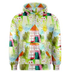 Summer House And Garden A Completely Seamless Tile Able Background Men s Zipper Hoodie