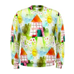 Summer House And Garden A Completely Seamless Tile Able Background Men s Sweatshirt