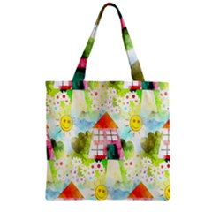Summer House And Garden A Completely Seamless Tile Able Background Zipper Grocery Tote Bag