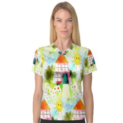Summer House And Garden A Completely Seamless Tile Able Background Women s V-Neck Sport Mesh Tee