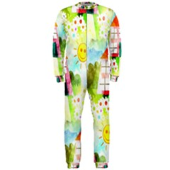 Summer House And Garden A Completely Seamless Tile Able Background Onepiece Jumpsuit (men)