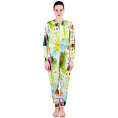 Summer House And Garden A Completely Seamless Tile Able Background Onepiece Jumpsuit (ladies)