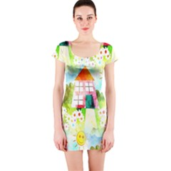 Summer House And Garden A Completely Seamless Tile Able Background Short Sleeve Bodycon Dress