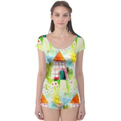 Summer House And Garden A Completely Seamless Tile Able Background Boyleg Leotard
