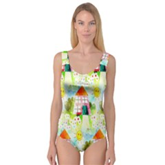 Summer House And Garden A Completely Seamless Tile Able Background Princess Tank Leotard