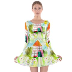 Summer House And Garden A Completely Seamless Tile Able Background Long Sleeve Skater Dress