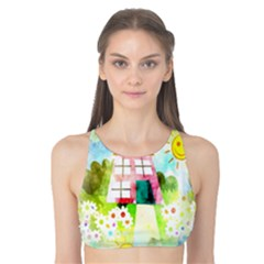 Summer House And Garden A Completely Seamless Tile Able Background Tank Bikini Top