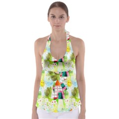 Summer House And Garden A Completely Seamless Tile Able Background Babydoll Tankini Top