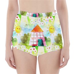 Summer House And Garden A Completely Seamless Tile Able Background High-Waisted Bikini Bottoms