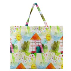 Summer House And Garden A Completely Seamless Tile Able Background Zipper Large Tote Bag