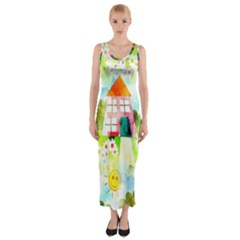 Summer House And Garden A Completely Seamless Tile Able Background Fitted Maxi Dress