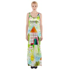 Summer House And Garden A Completely Seamless Tile Able Background Maxi Thigh Split Dress