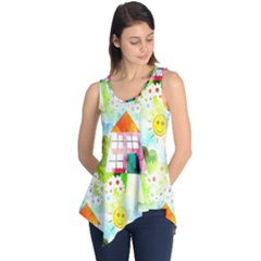 Summer House And Garden A Completely Seamless Tile Able Background Sleeveless Tunic