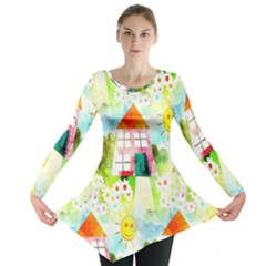 Summer House And Garden A Completely Seamless Tile Able Background Long Sleeve Tunic