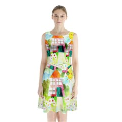 Summer House And Garden A Completely Seamless Tile Able Background Sleeveless Chiffon Waist Tie Dress