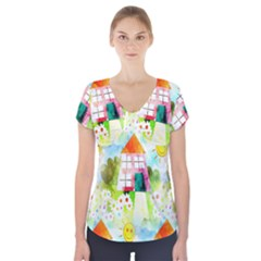 Summer House And Garden A Completely Seamless Tile Able Background Short Sleeve Front Detail Top