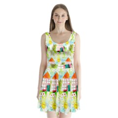 Summer House And Garden A Completely Seamless Tile Able Background Split Back Mini Dress
