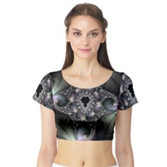 Magic Swirl Short Sleeve Crop Top (Tight Fit)