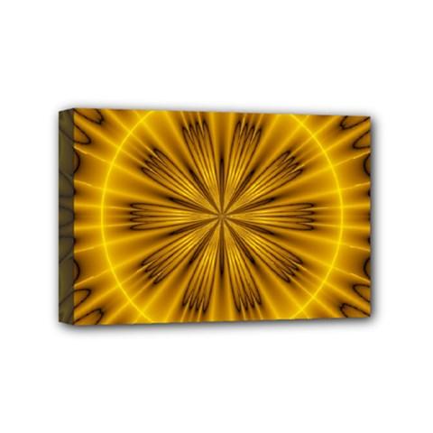 Fractal Yellow Kaleidoscope Lyapunov Mini Canvas 6  X 4