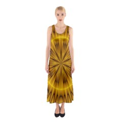 Fractal Yellow Kaleidoscope Lyapunov Sleeveless Maxi Dress