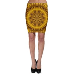 Fractal Yellow Kaleidoscope Lyapunov Bodycon Skirt