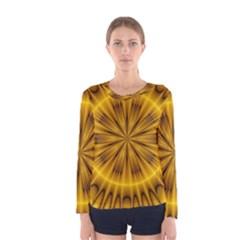 Fractal Yellow Kaleidoscope Lyapunov Women s Long Sleeve Tee