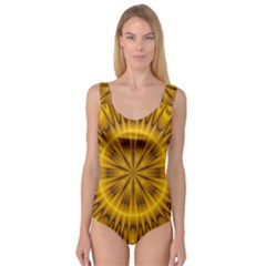 Fractal Yellow Kaleidoscope Lyapunov Princess Tank Leotard