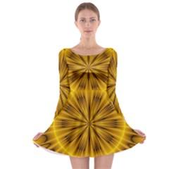 Fractal Yellow Kaleidoscope Lyapunov Long Sleeve Skater Dress