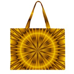 Fractal Yellow Kaleidoscope Lyapunov Large Tote Bag