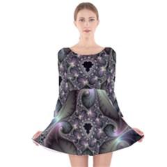 Precious Spiral Wallpaper Long Sleeve Velvet Skater Dress